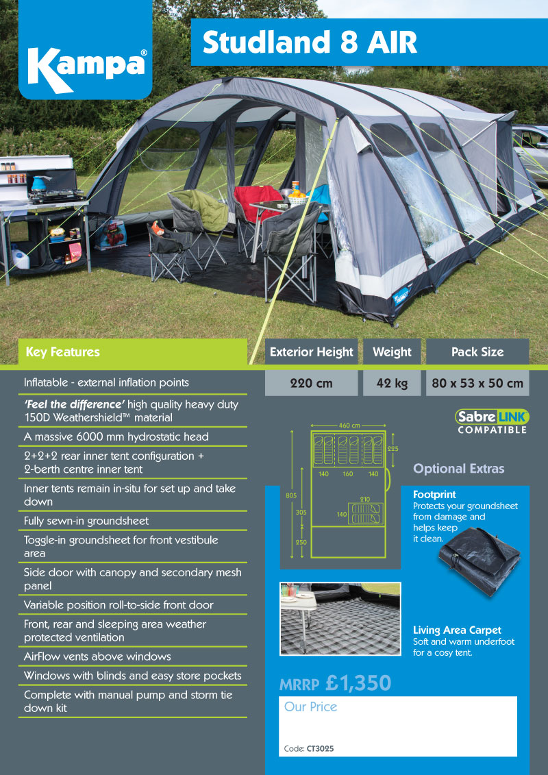Click on the small pictures below to view gallery pictures of the K&a Studland 8 Air. & Kampa Studland 8 Air inflatable tent from United British Caravans