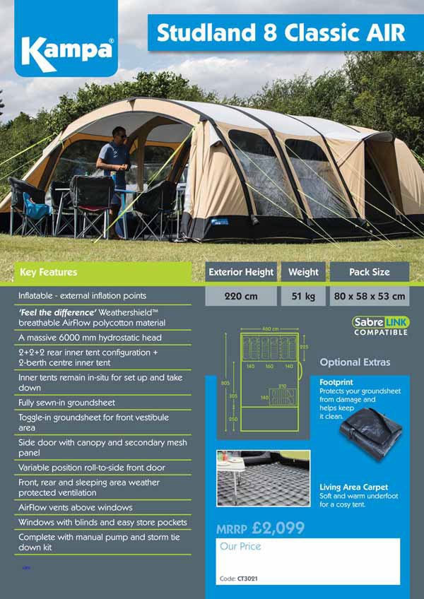 Kampa Studland 8 CLassic Air inflatable tent from United British ...